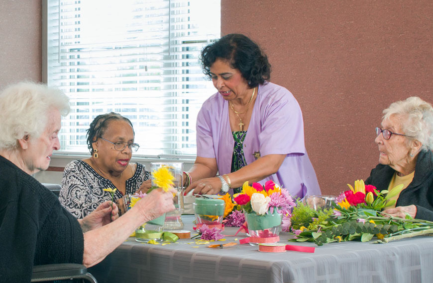 Lynbrook rehabilitation patients in flower arranging activity